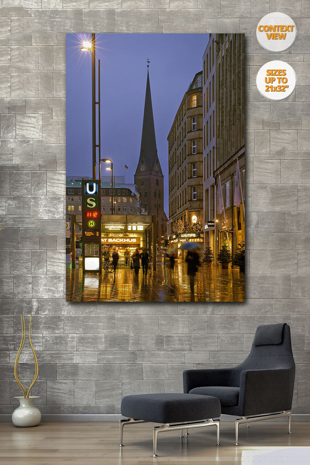 Jungfernstieg, Hamburg, Germany. | View of the Print hanged in Living Room.