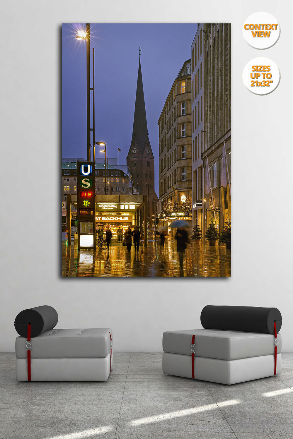 Jungfernstieg, rain, Hamburg. | Print hanged in meeting room.