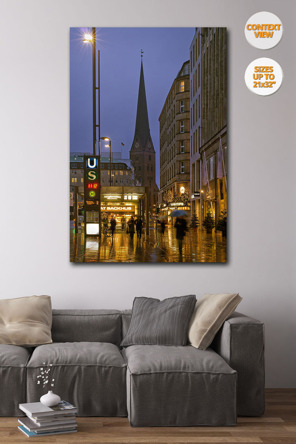 Jungfernstieg at dusk, Hamburg. | Print hanged in living room.