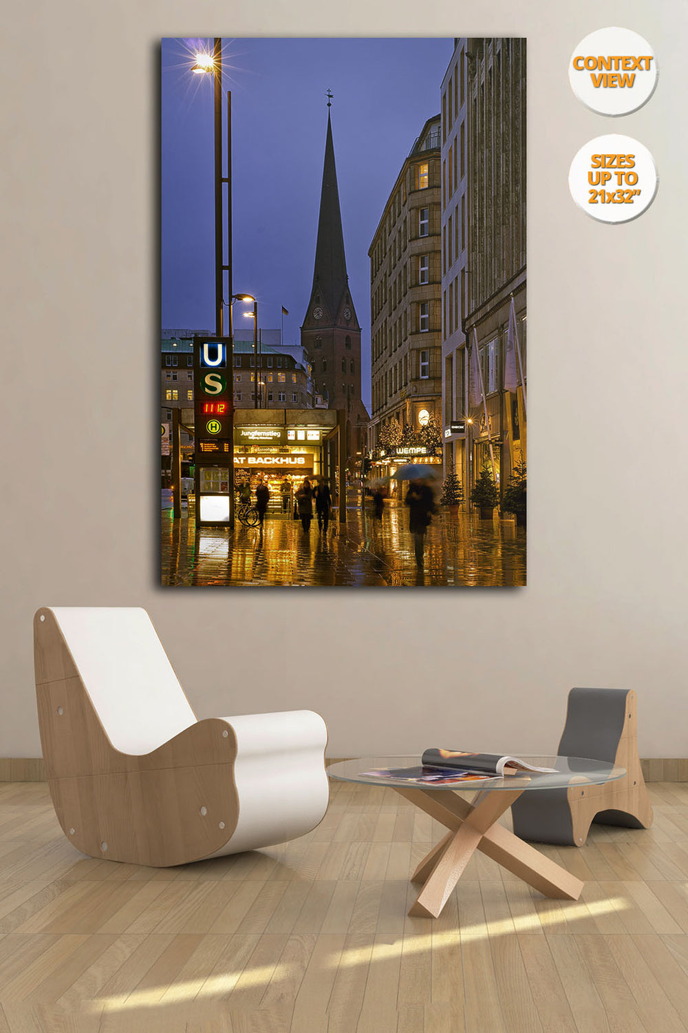 Jungfernstieg at dusk, Hamburg. | Open Edition Fine Art Print.