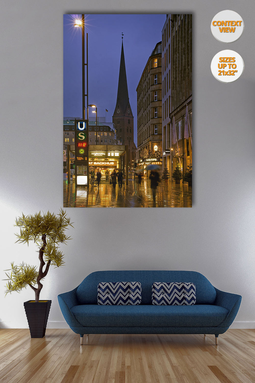 Jungfernstieg at dusk, Hamburg, Germany. | Open Edition Fine Art Print.