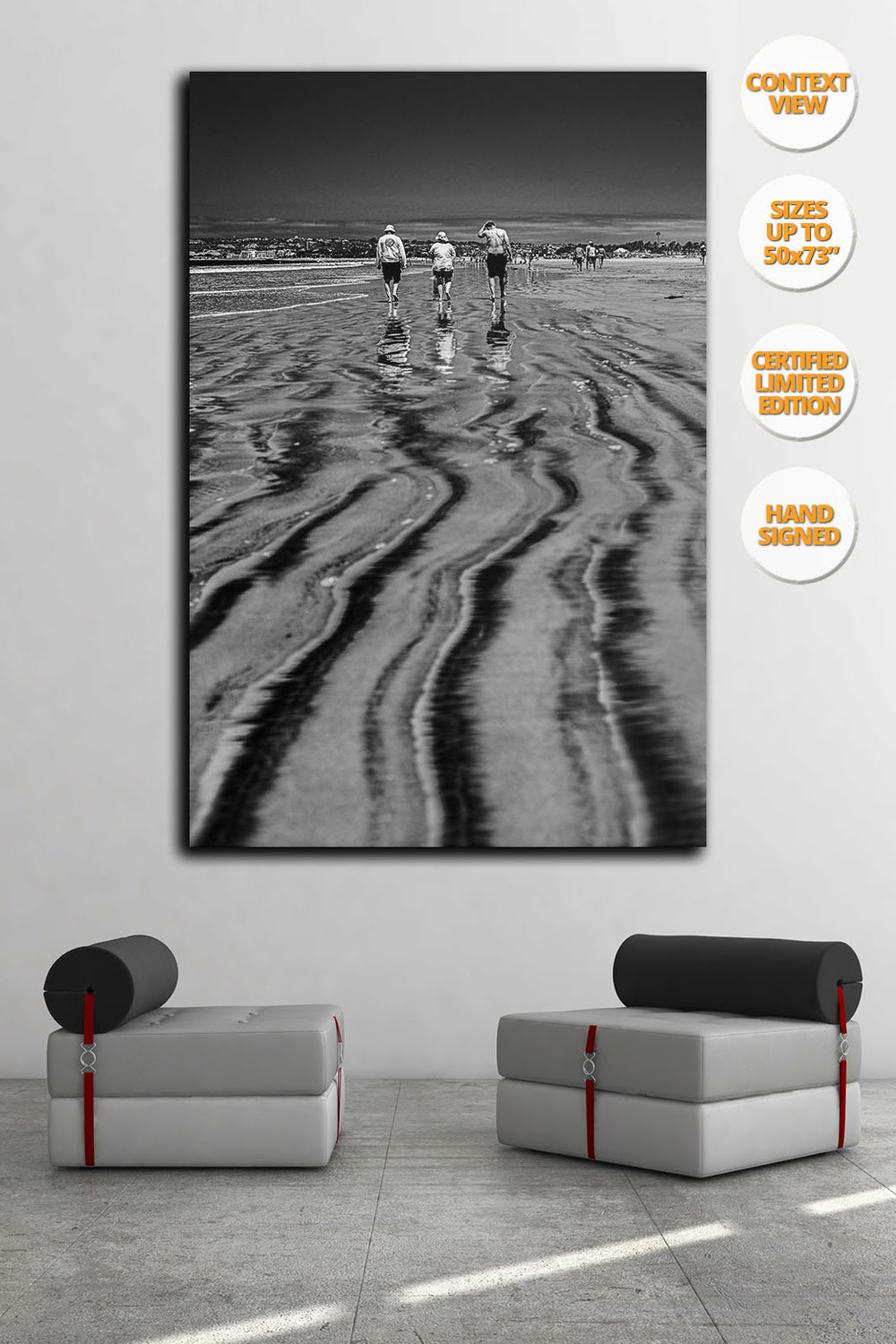 Three bathers in Coronado Beach, San Diego, California. | Living room.