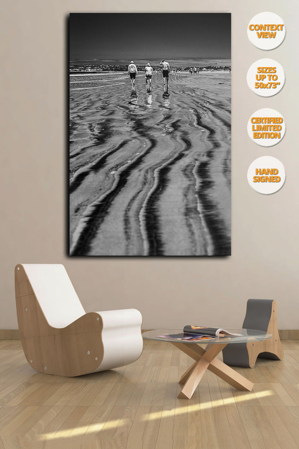 Three bathers in Coronado Beach, San Diego. | Print hanged on living room.