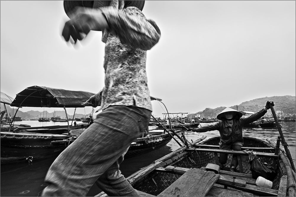 Taxi boats, Cat Ba Island, Vietnam. [1/3]  | Black and White Original Fine Art Print.