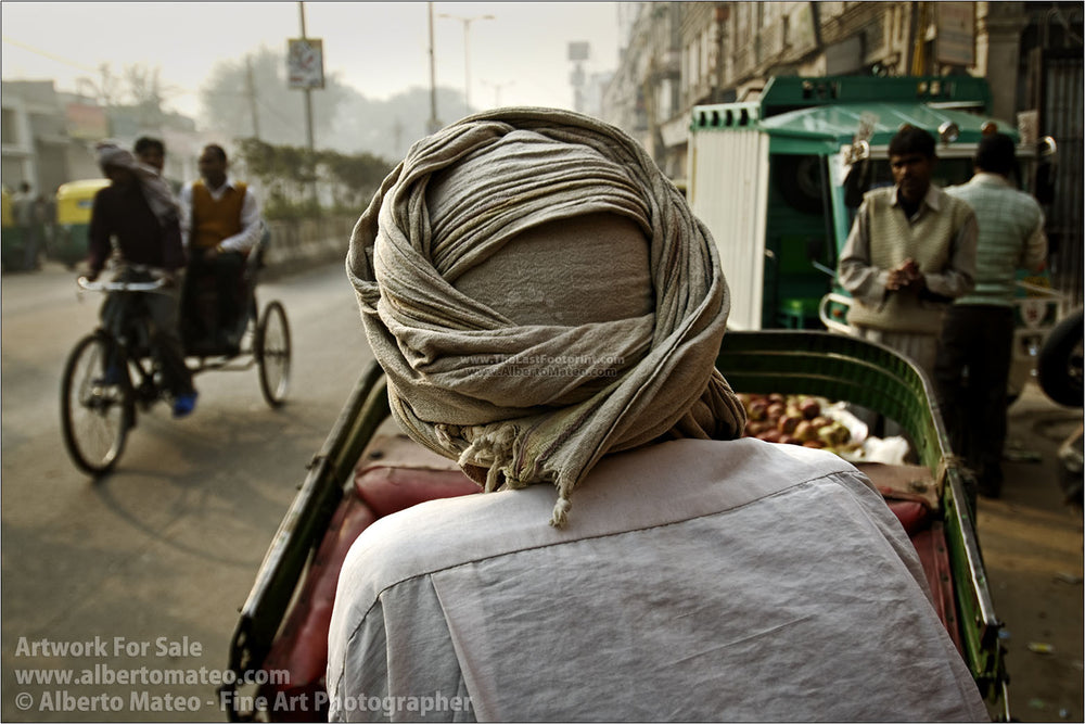 Rickshaw drivers in Qutab Road, New Delhi, India. | Unlimited Edition Print.