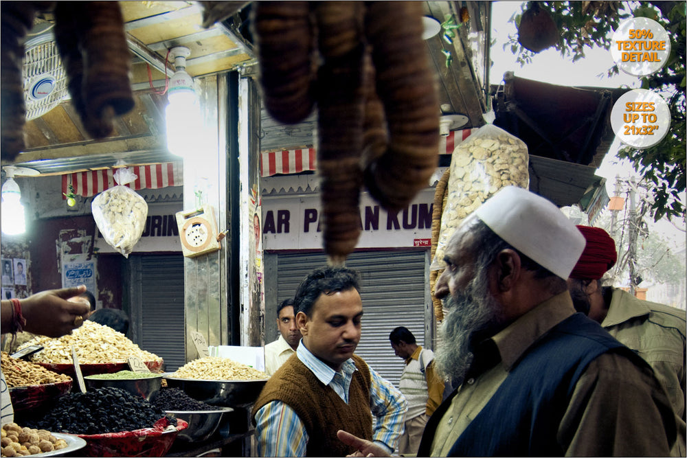 Spice Bazaar near Chandni Chowk, Old Delhi. | View of the Print at 50% magnification detail.