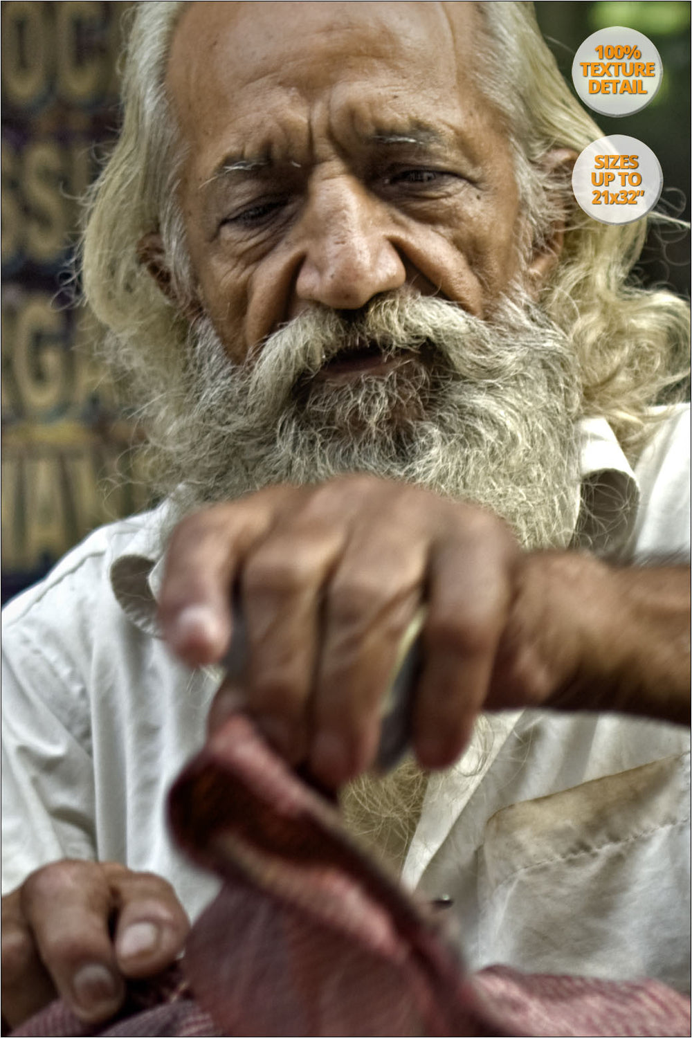 Portrait of sweets street seller, Chandni Chowk, Delhi. | 100% Magnification Detail View of the Print.
