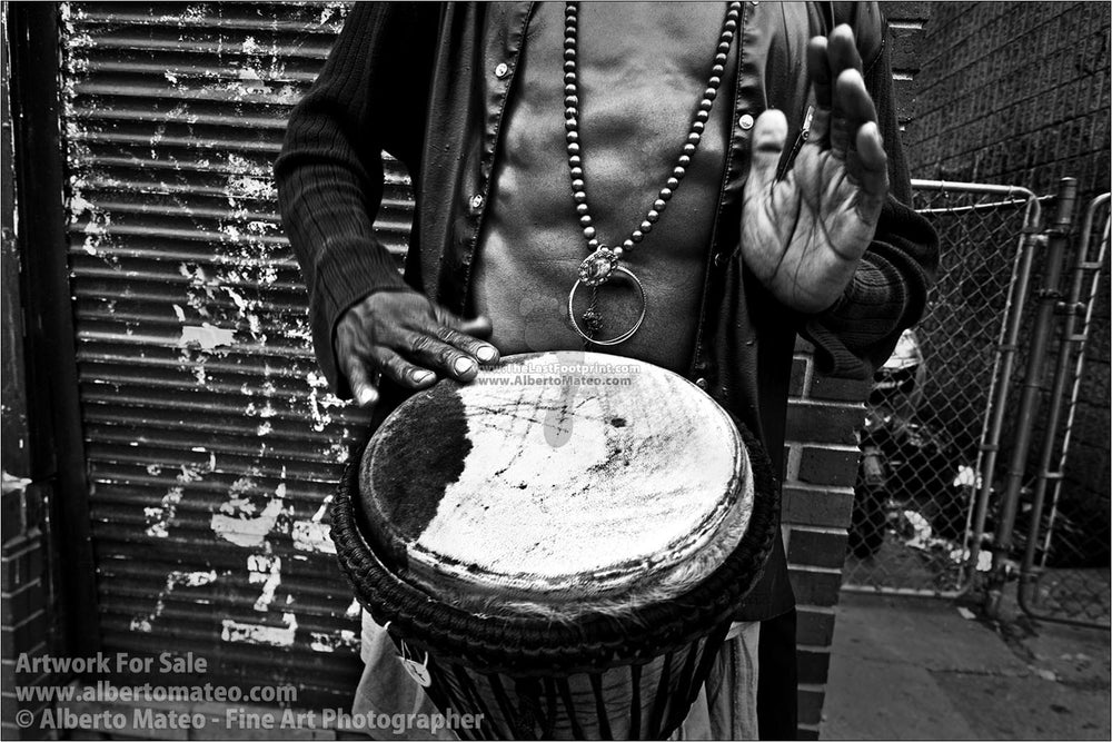 Man playing drums, Kensington Market, Toronto. | Original Black and White Print.