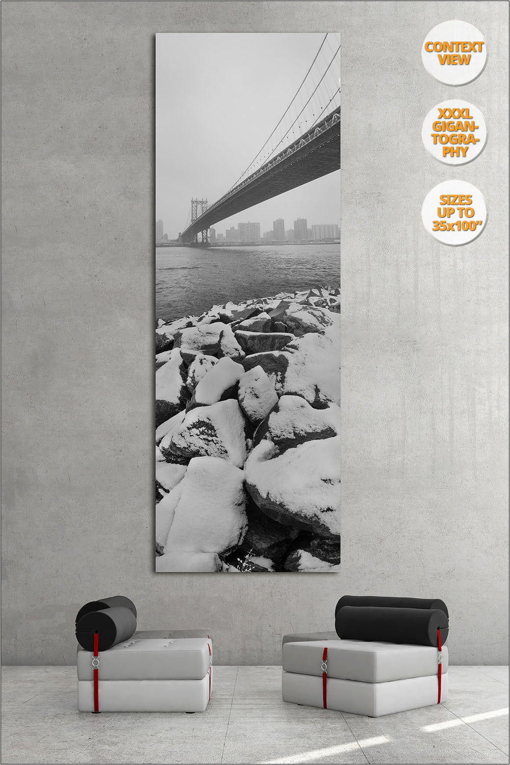 Snow under the Manhattan Bridge, New York. | Giant Black and White Fine Art Print.