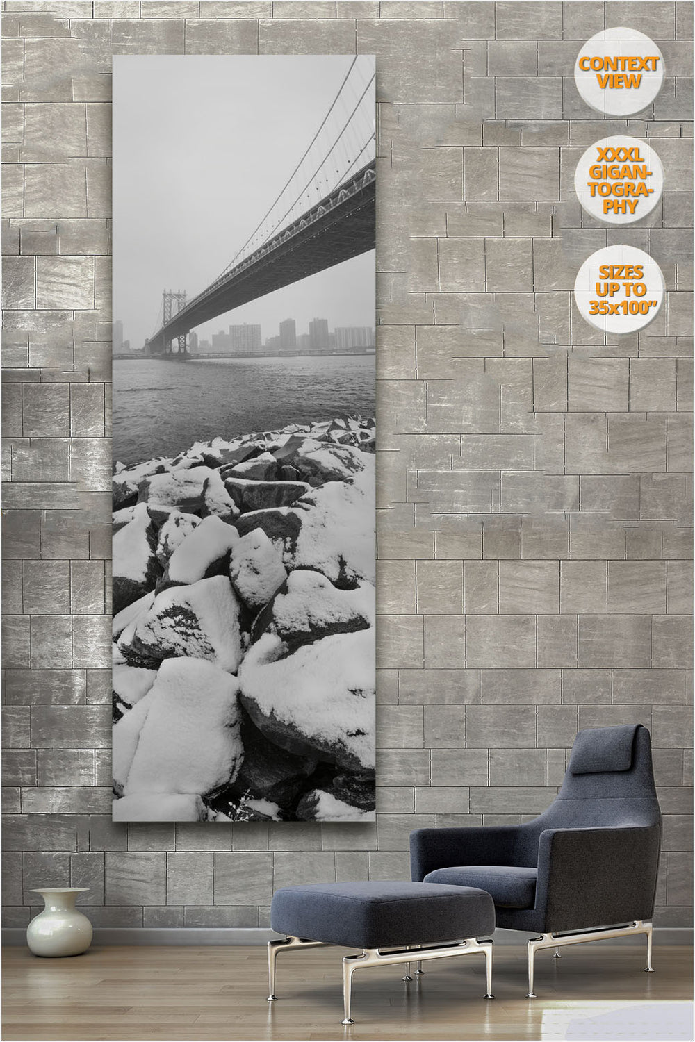 Snow under the Manhattan Bridge, NYC. | 50% Detail.