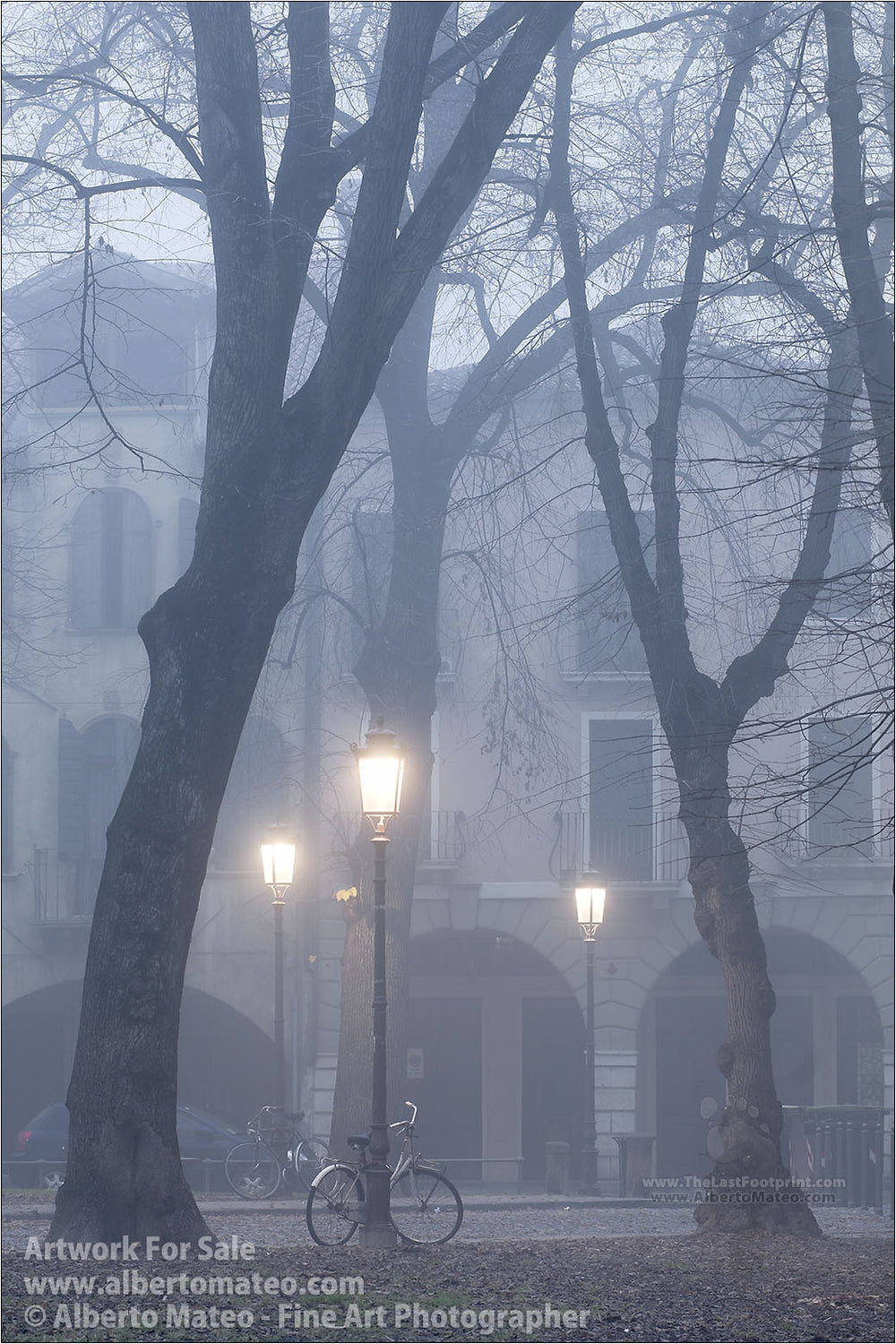 Fog in Piazza del Castello, Padua, Italy. | Full view of the Print.
