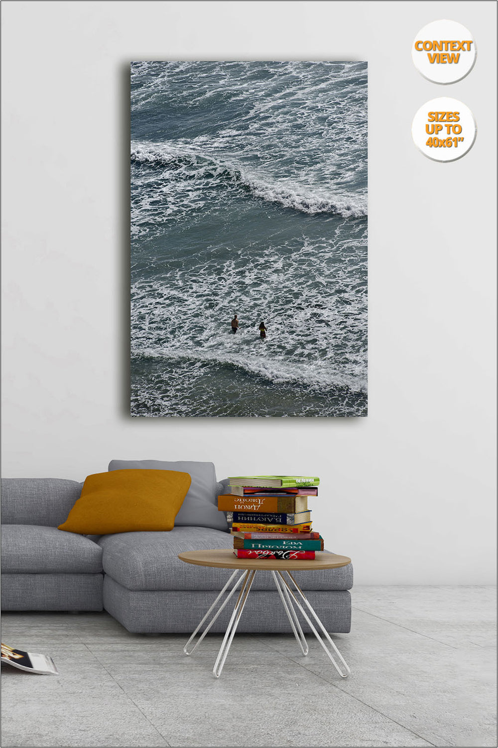 Swimmers in Blacks Beach, San Diego, California. | Print hanged in living room.