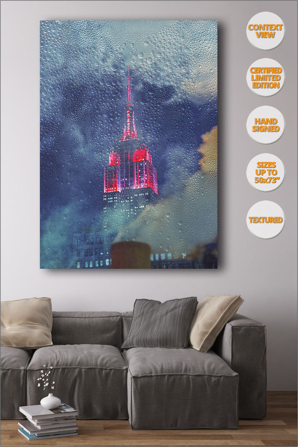 The Empire State by night, New York. | Print hanged in living room.