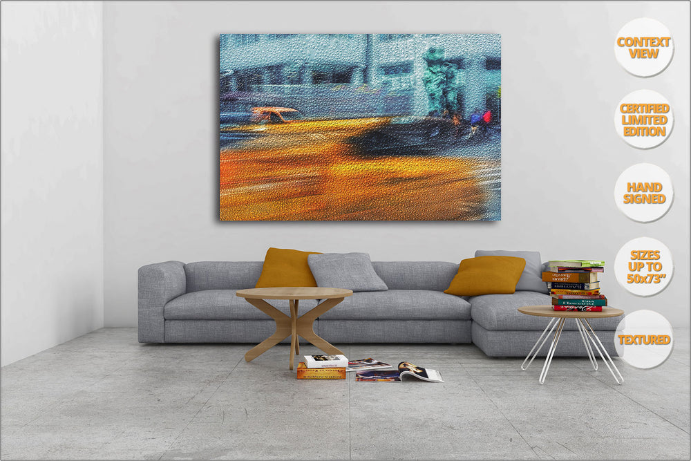 Taxis under Venus sculpture, 6th Avenue, New York. | Living Room View.