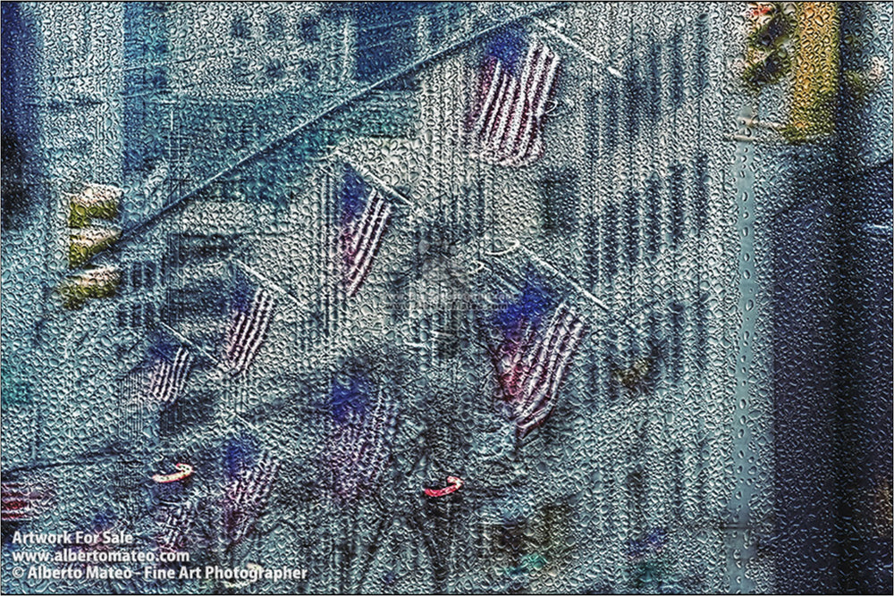 American Flags in the Fifth Avenue, New York.