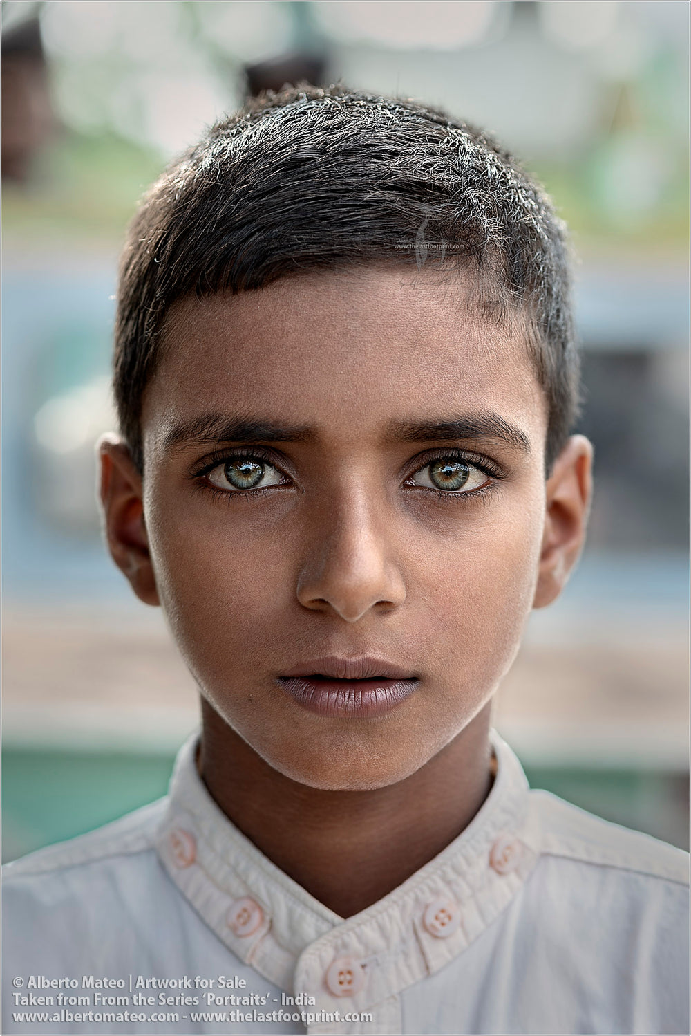 Portrait of green-eyed Muslim Boy, Ballia, Uttar Pradesh, India. [COLOR]