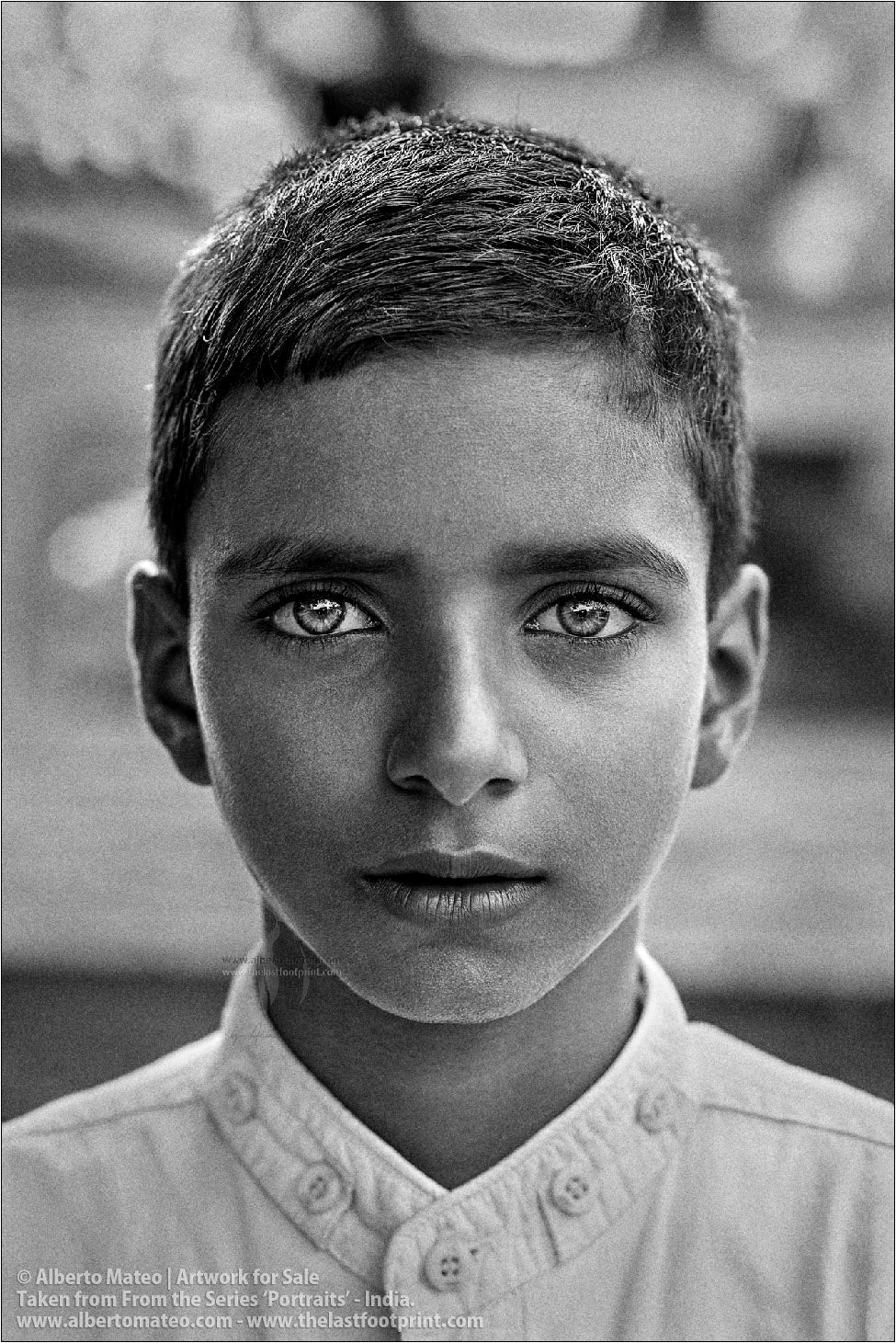 Portrait of green-eyed Muslim Boy, Ballia, Uttar Pradesh, India. [BLACK AND WHITE]