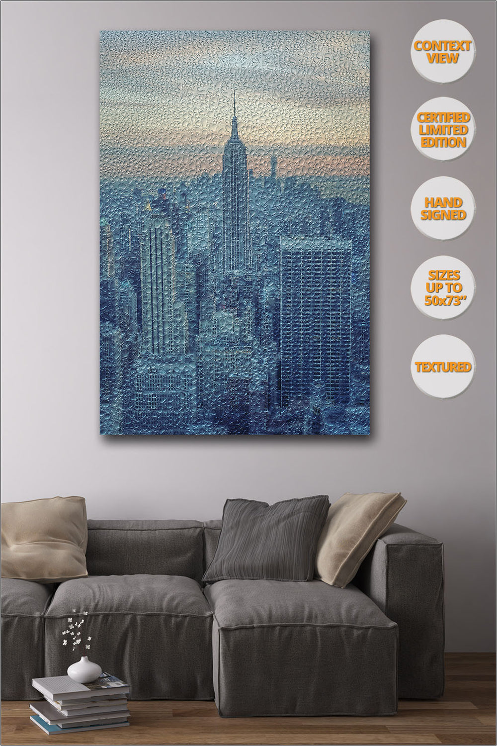 Empire State under the Rain, New York. Manhattan. | Hanged in Living room.