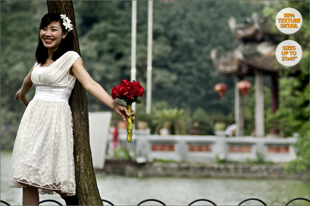 Smile of Bride to be, wedding Album, Hanoi, Vietnam. | 50% Magnification Detail.