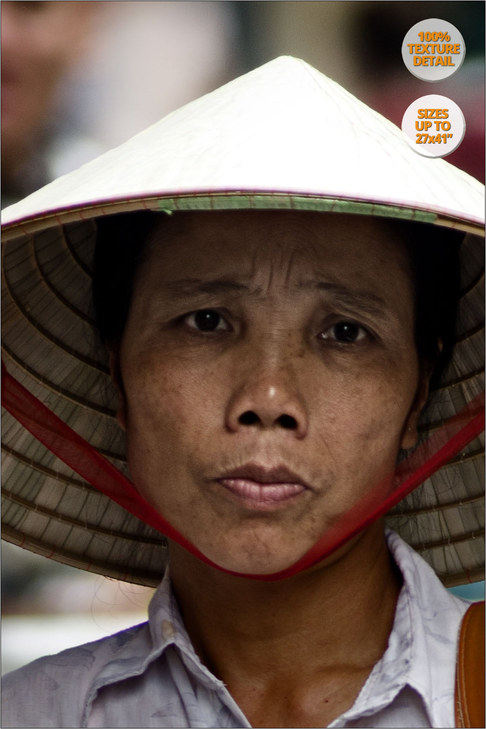 Woman selling hats in Hanoi old quarters. | 100% Magnification Detail View of the Print.