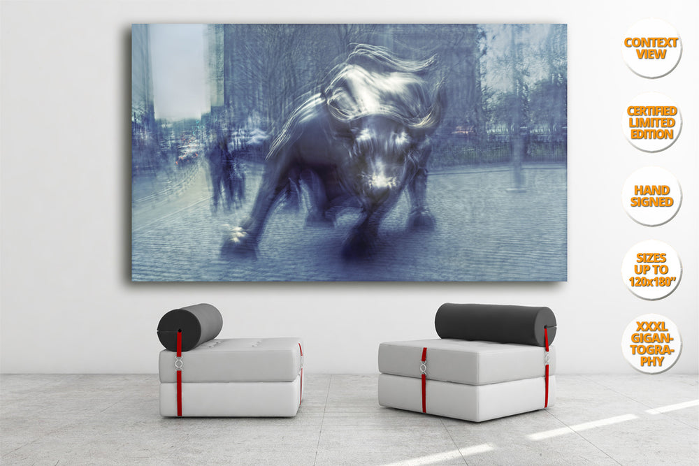 The Bull in Wall Street, Manhattan. | Giant Print hanged in meeting room.