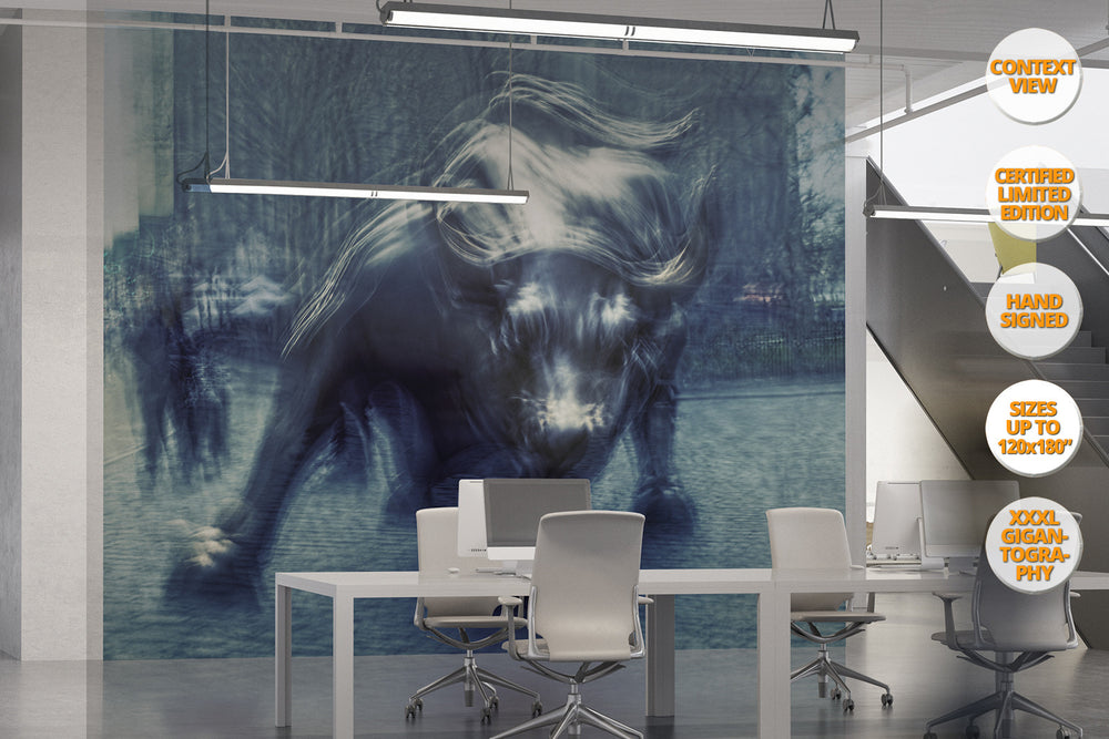 The Bull in Wall Street, Manhattan. | Giant Print hanged in office room.