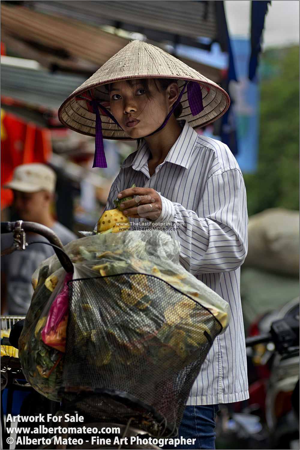 Girl selling pineapples, Hanoi, Vietnam. | Open Edition Fine Art Print.