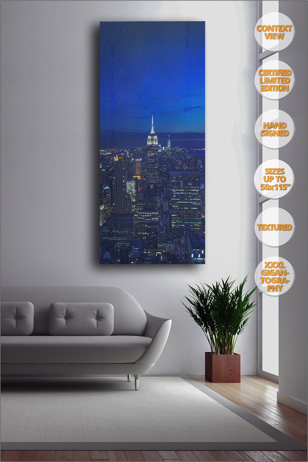 The Empire State at dusk, Manhattan, New York. | Print hanged next to window.