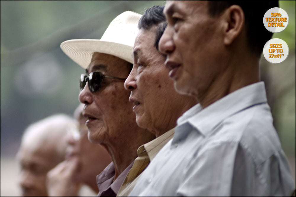 Four men next to Hoan Kiem Lake, Hanoi. | 50% Magnification Detail.