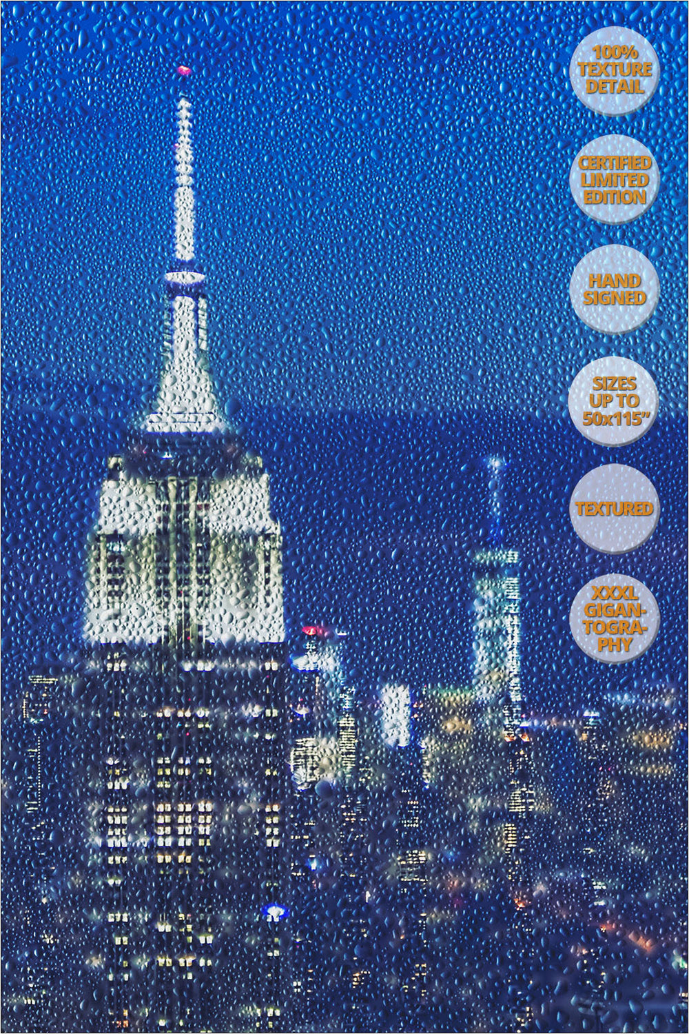 The Empire State at dusk, Manhattan, New York. | 100% Magnification Detail View of the Print.