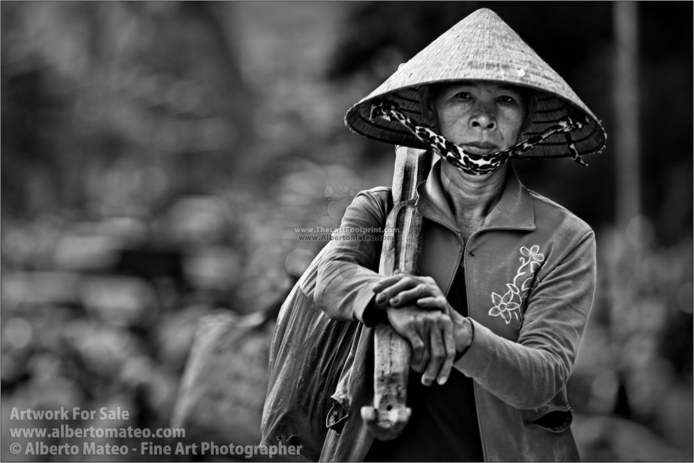 Portrait of woman, Saigon (Ho Chi Mihn City), Vietnam. | Black and White Fine Art Print.