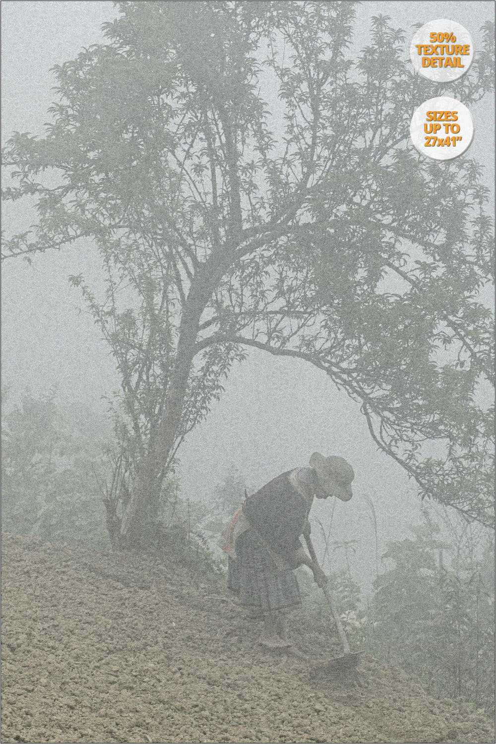 Hmong woman sowing in the fog, Bac Ha, Vietnam. | 50% Magnification Detail.