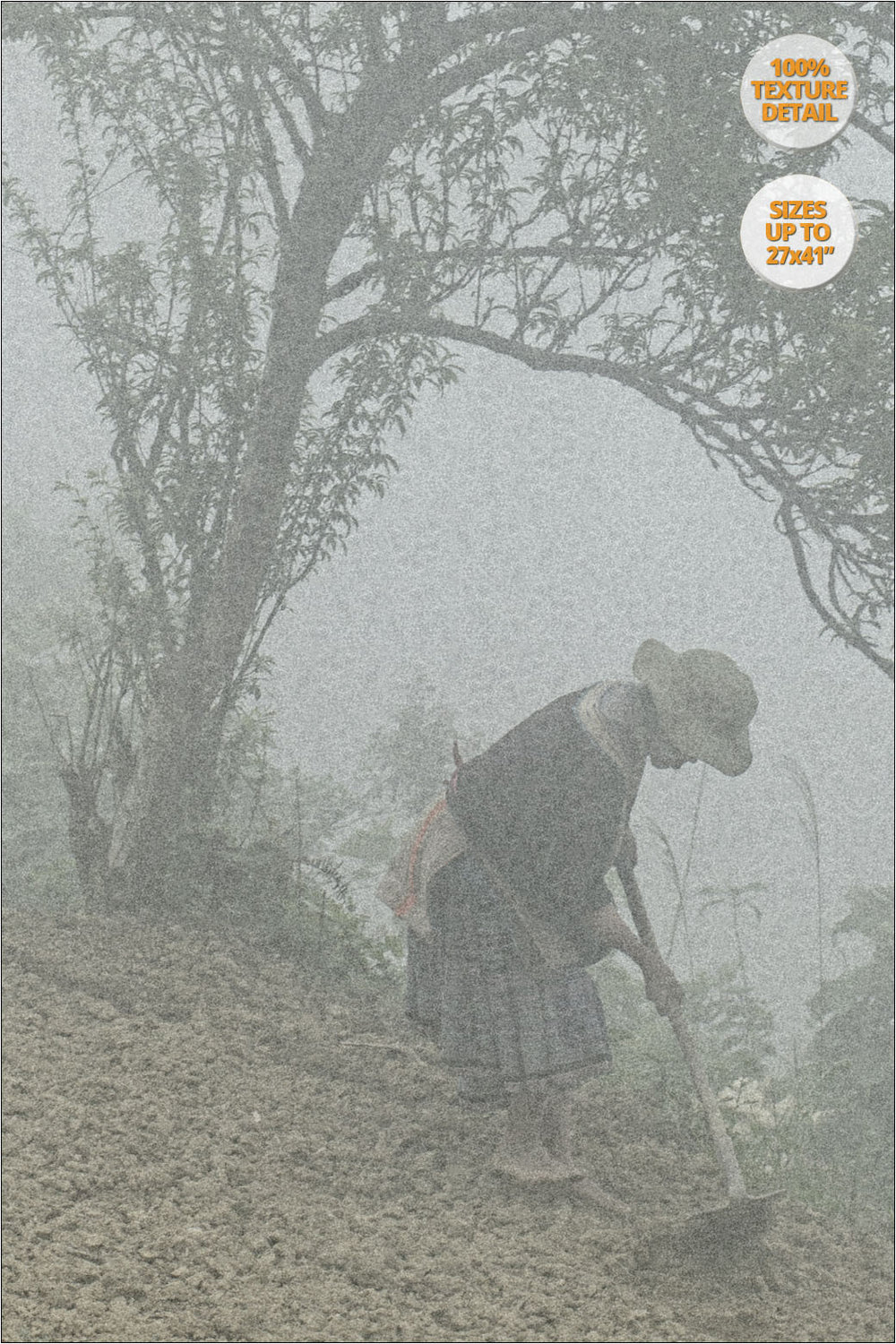 Hmong woman sowing in the fog, Bac Ha, Vietnam. | View at 100% Magnification Detail.