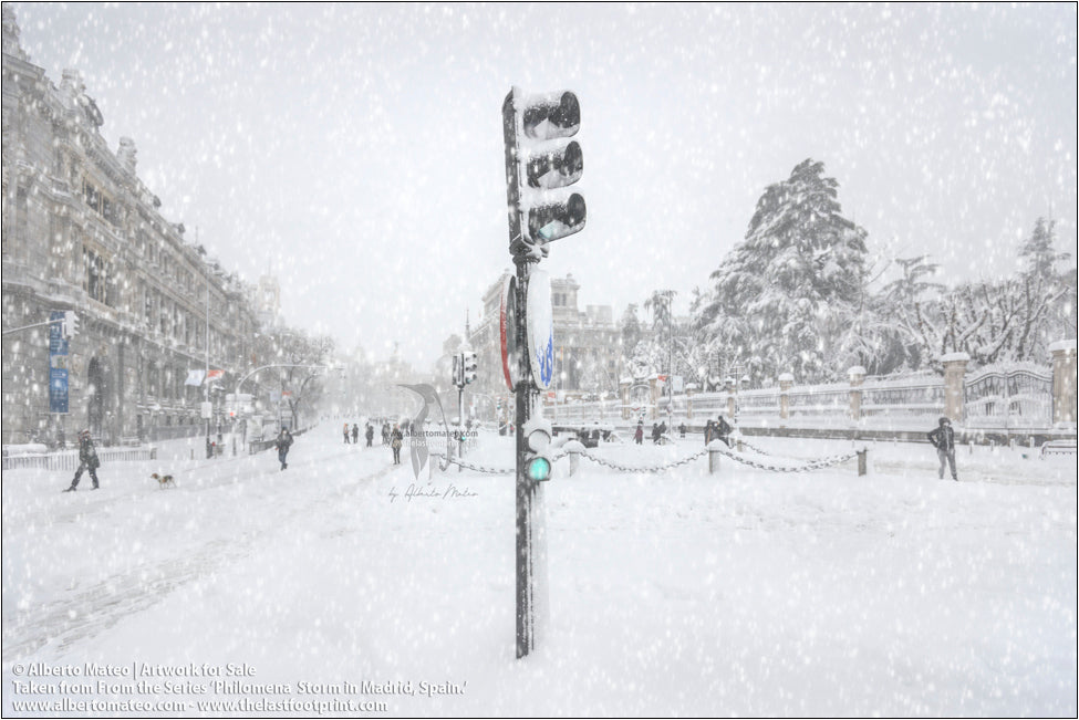 Traffic light in Alcala Street, Filomena Winter Snow Storm, Madrid, Spain.