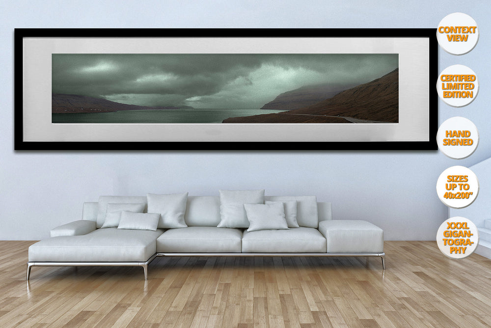 Landscape in Red and Green, Faroe Islands. | Framed Print hanged in living room.
