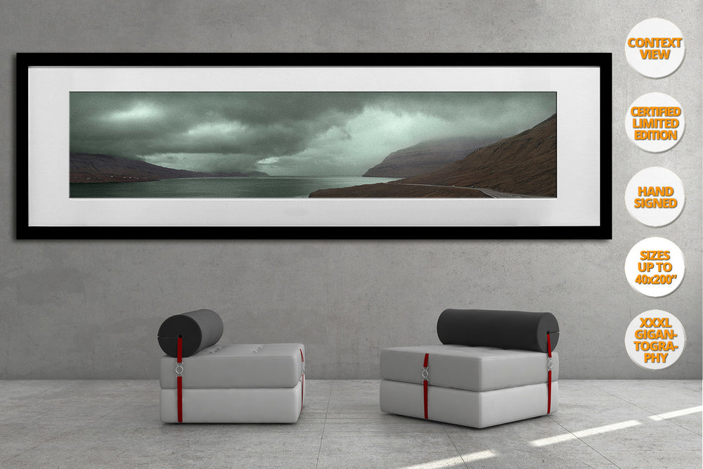 Landscape in Red and Green, Faroe Islands, North Atlantic. | Framed Print.