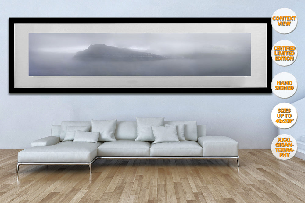 Fog in Eidi, Faroe Islands. | Print hanged in living room.