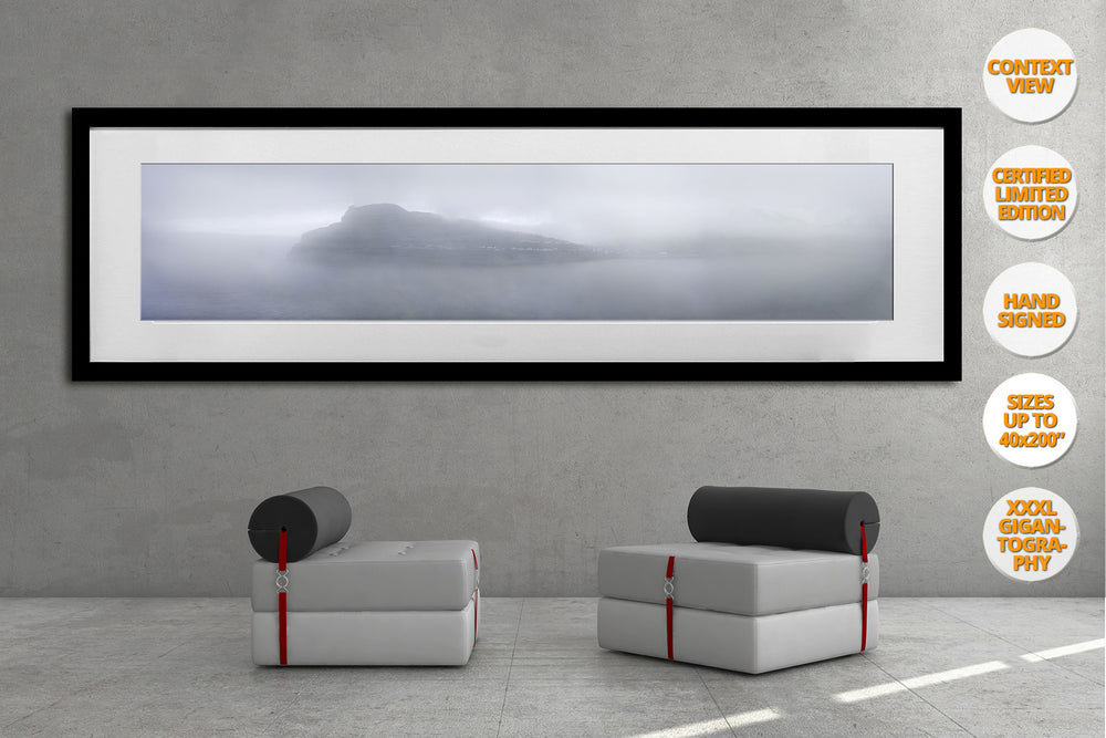 Fog in Eidi, Faroe Islands. | Panoramic Print hanged in living room.