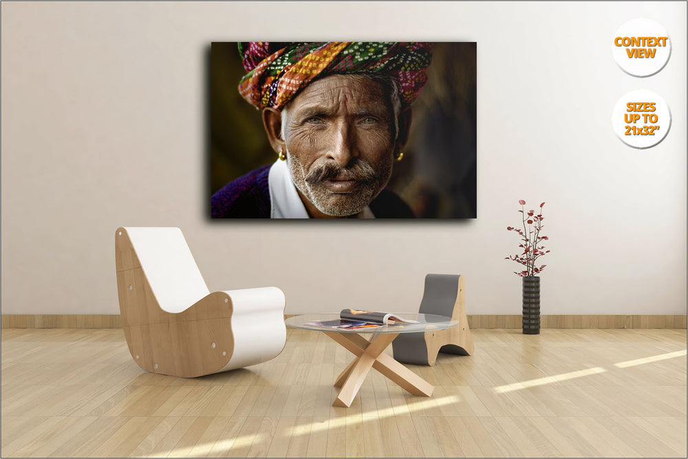 Rajastani Musician, Pushkar Camel Fair, India. | View of the Print hanged in Living Room.