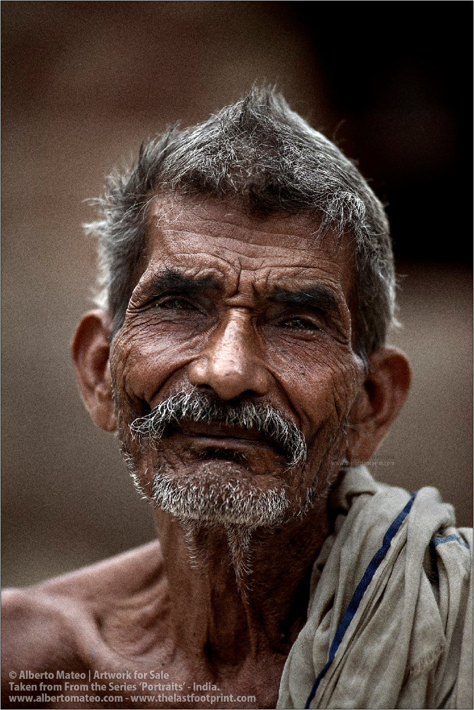 Portrait of elderly Man, Ballia, Uttar Pradesh, India. [COLOR]