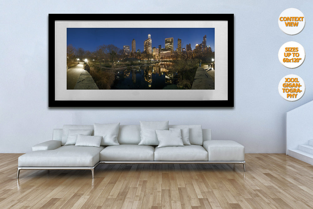 The Pond at dusk, Central Park, New York. | View of the Print hanged framed in Living Room.