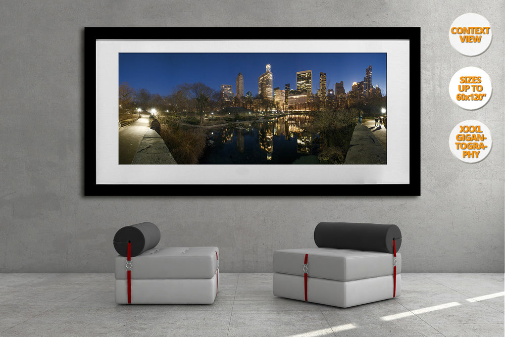 The Pond at dusk, Central Park, NYC. | View of the Print hanged framed in waiting room.