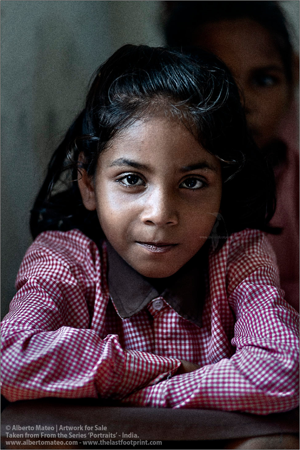 Portrait of schoolgirl, Ballia, Uttar Pradesh, India.