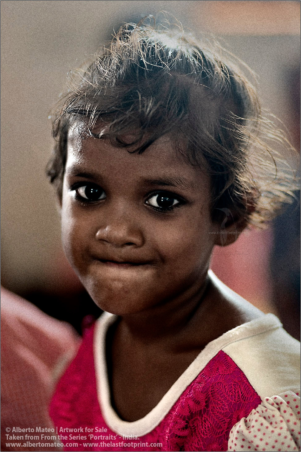Portrait of small schoolgirl, Ballia, Uttar Pradesh, India.