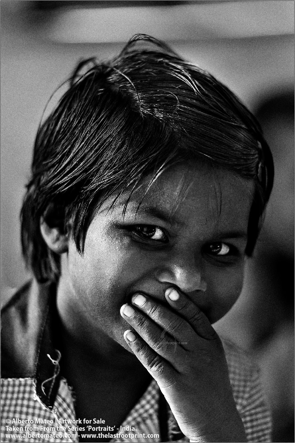 Portrait of smiling schoolgirl, Ballia, Uttar Pradesh, India. [BLACK & WHITE]