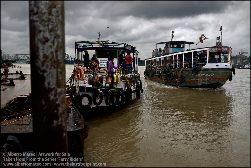 Boys riding ship in Hooghly River [Color], Kolkata, India.