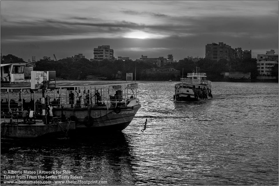 Ferry in the Ghats in Hooghly River, sunset, Kolkata, India.