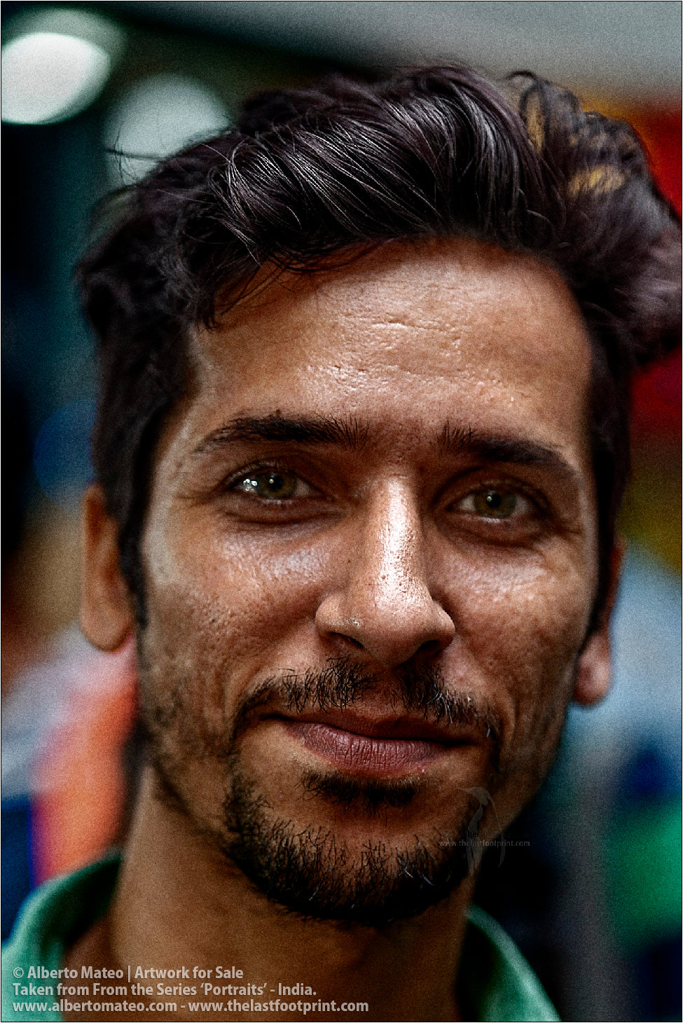 Portrait of Muslim seller Porter in Bara Bazar streets, Kolkata, India. [COLOR]
