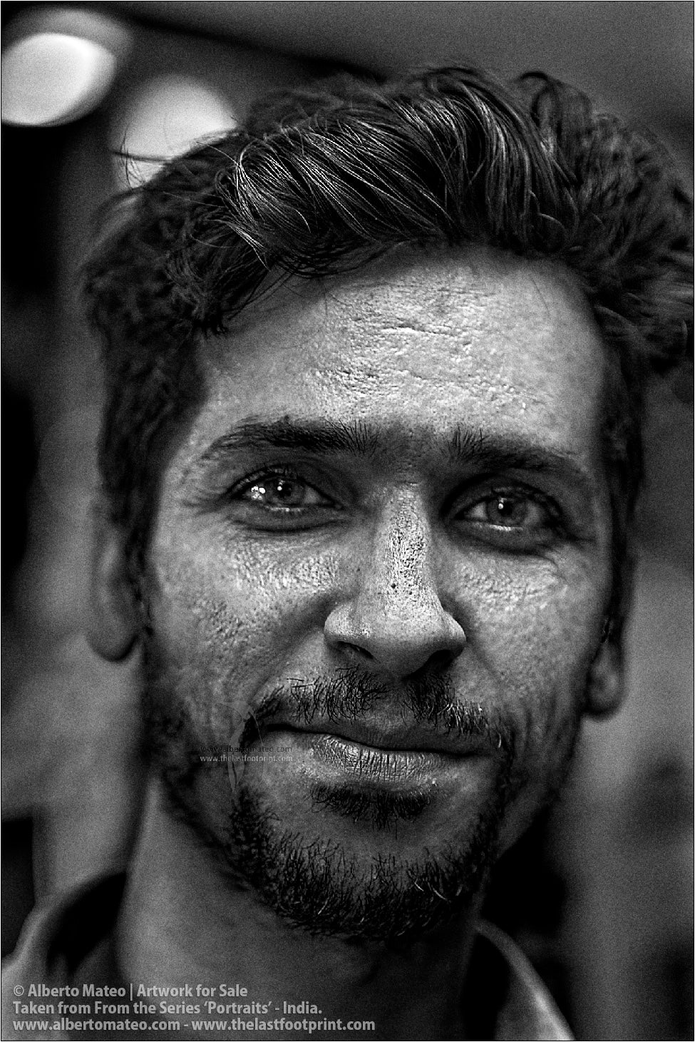 Portrait of Muslim seller Porter in Bara Bazar streets, Kolkata, India. [BLACK AND WHITE]