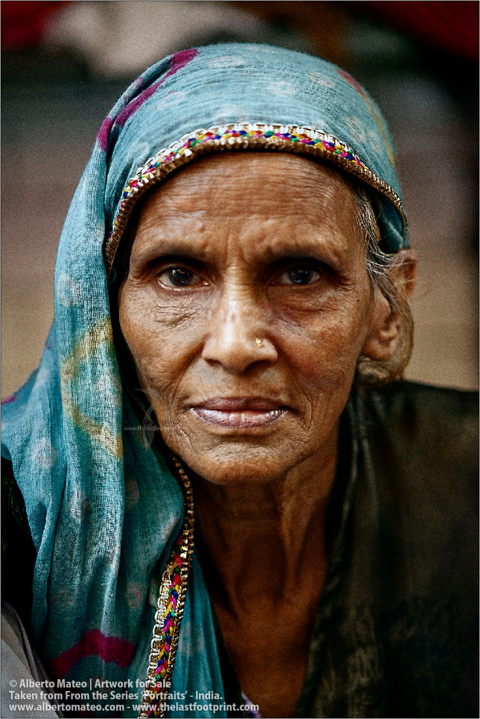 Portrait of elderly woman, Bara Bazar, Kolkata, India.